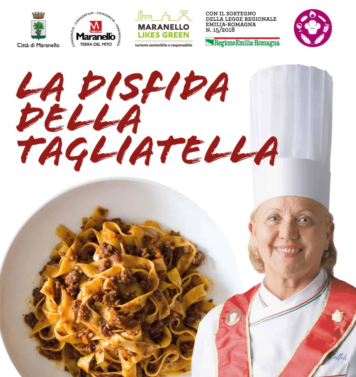 copertina della disfida della tagliatella raffigurante una chef e un piatto di tagliatelle al ragù
