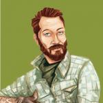 Vignetta del personaggio di Peter, camicia a quadri da motociclista, barba e capelli corti