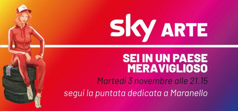 Banner grafico che rappresenta l'appuntamento con Sky Arte e la puntata su Maranello.